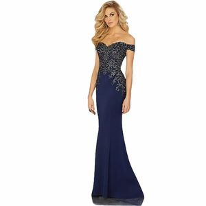 MGNY Navy Formal Dress with Sequin embroidered